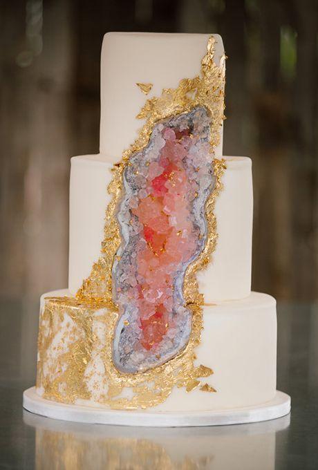 Modern Geode Wedding Cake with Gold Foil | Brides.com