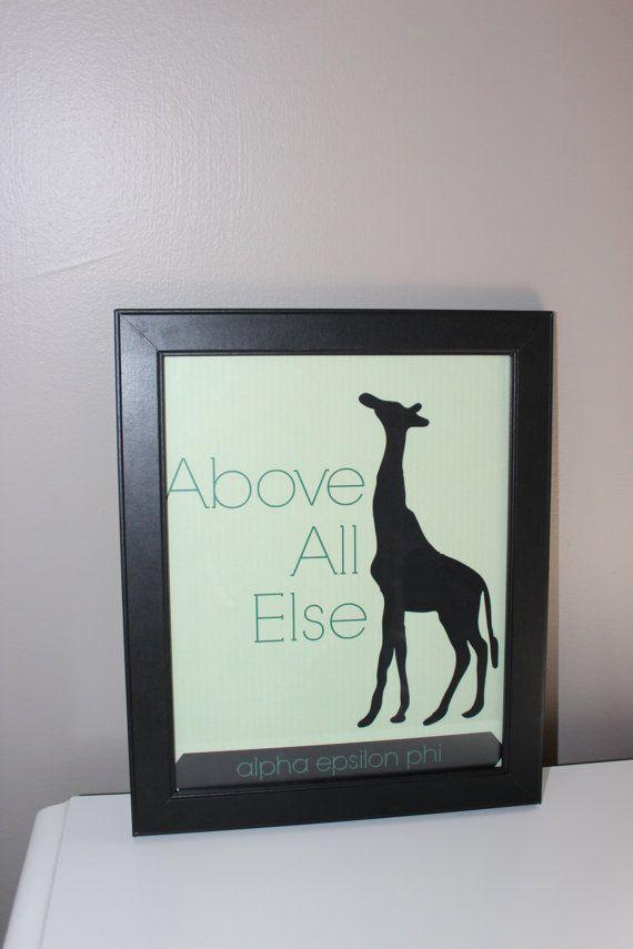 Alpha Epsilon Phi Sorority Giraffe Print by CraftyCutroney on Etsy