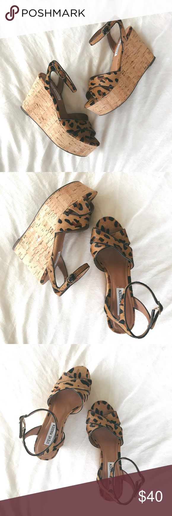 """Steve Madden™️ Leopard Print Wedges Adorable leopard print wedges! 4"""" wedge heel. Leather. Excellent preloved condition. Ships within 48 hours of purchase. Steve Madden Shoes Wedges"""