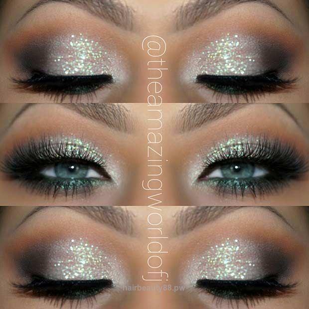 Neat Glitter Eye Makeup Idea for Blue Eyes The post Glitter Eye Makeup Idea for …