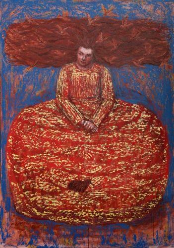 Maria Guilbert - La Rêveuse (huile sur toile (162x114 cm)