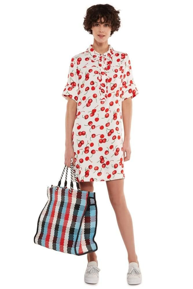 Essentiel Antwerp Off White and Red Cherry Print Shirt Dress With  Embroidered Collar ba3e45eb39986