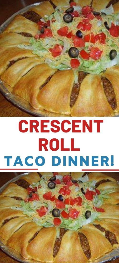 Ingredients:  2 crescent roll tubes  1 LB ground beef (or ground turkey)  1 packet of taco seasoning  1 1/2 cups grated cheddar cheese  Shredded lettu...