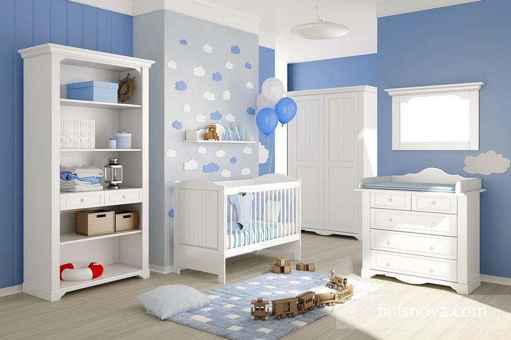 Si vas a tener un varón es una buena opción decorar el dormitorio con tonos azul pastel y blanco, hará que la habitación no se vea oscura. www.finisnova.com
