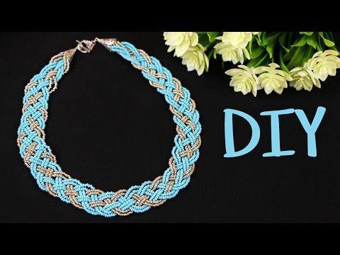 Колье Косичка из 5 прядей из бисера своими руками. TUTORIAL: 5 Strand Braid Beaded Necklace DIY.
