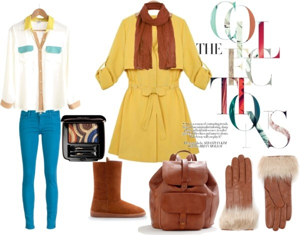 """""""blue brown yellow"""" by tbozkn on Polyvore"""