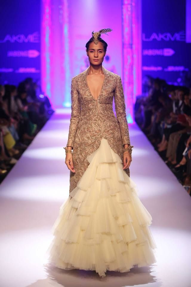 Fusion feathered Indian wedding gown dress by Shantanu & Nikhil at Lakme Fashion Week Winter 2014