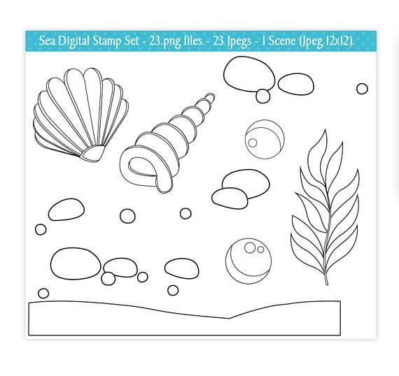 Mar animales sellos digitales bajo el mar sellos sellos