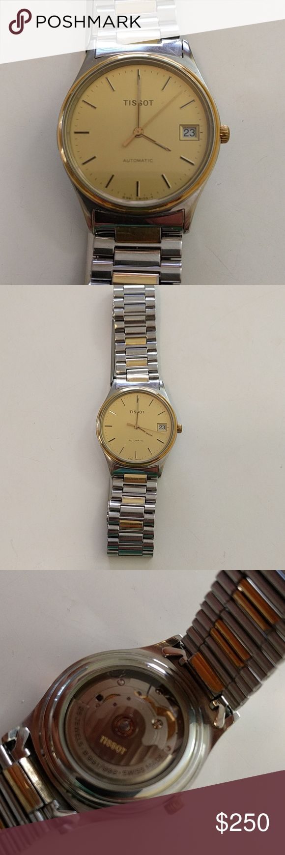 Tissot Swiss automatic watch Vintage Tissot in with a classic gold face and steel and gold bracelet. Swiss movement. Tissot Accessories Watches