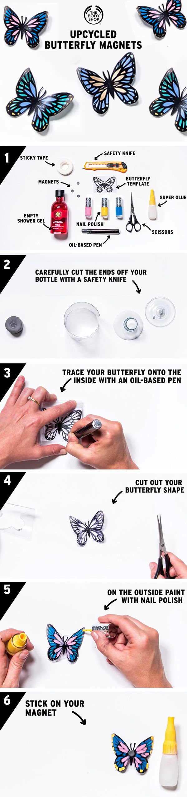 Looking to limit the amount of plastic you throw away? Here's how to upcycle your empty The Body Shop shower gel bottles and turn them into super-cute butterfly magnets…