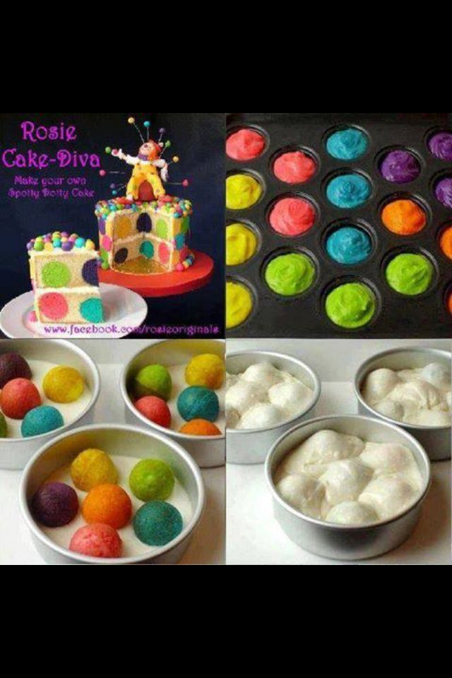 Cute cake idea! Bake colored cake balls first then place in pans a shown and bake white cake as directed!