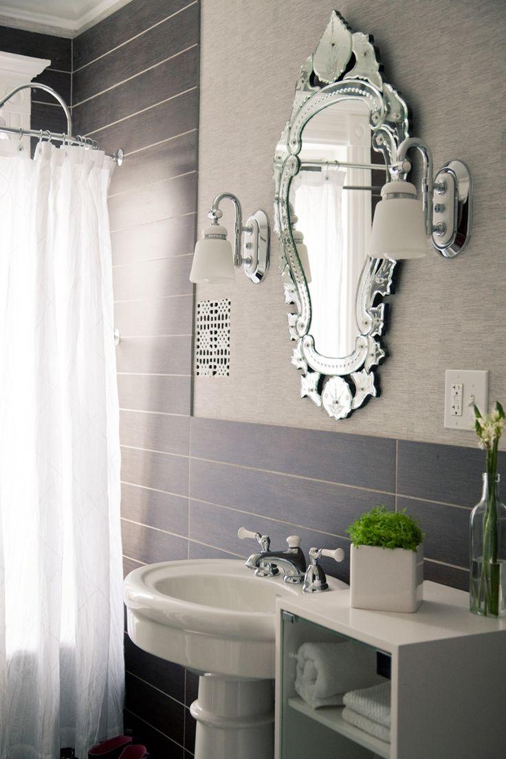 BathroomsBathroom Mirrors, Bathroom Design, Vintage Mirrors, Guest Bathroom, Small Bathroom, Bathroom Wall, Beautiful Bathroom, Venetian Mirrors, Bathroom Ideas