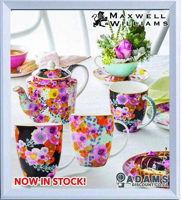 Maxwell & Williams Cashmere Bloems brings together vividly illustrated florals and subtle metallic trim in a modern chintz design. Designed by Maxwell & Williams' 2016 RMIT Industry Partnership Award Winner Carol-Joy Pirie. The 400ml mug is now in stock at Adams! #shoponline #adamsdisount www.adamsdiscount.co.za