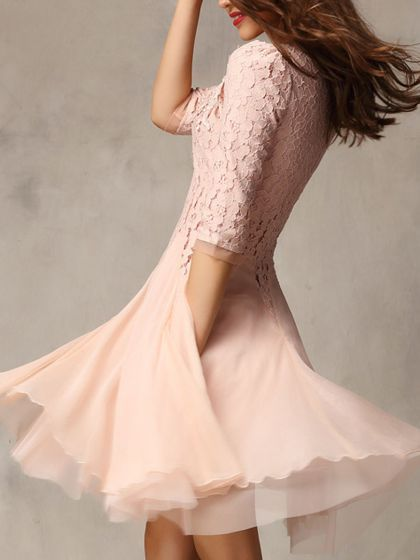 This post is about perfect for a wedding guest at summer. The cute pink lace panel dress is a good idea for young girl or women's party.