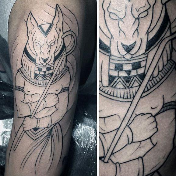 Мужские Анубис с черными чернилами Outline Arm Татуировки