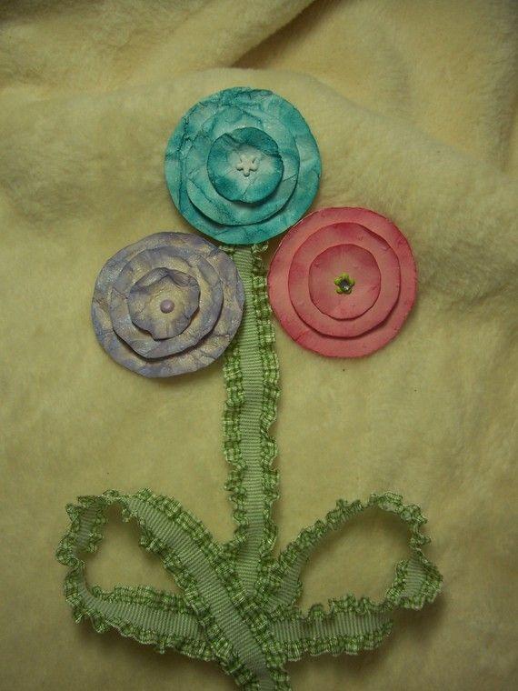Scrapbook Paper Flowers...12 Piece Set of Very Lovely Lollipop