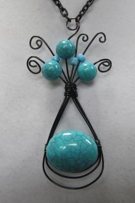 Handmade, black wire wrap turquoise necklaceWire Wraps Jewelry, Turquoise Necklaces, Jewelry Wire, Black Wire, Wire Necklaces Ideas, Turquoise Pendant, Jewelry Ideas, Wire Wrapped Pendant, Wire Wraps Pendants