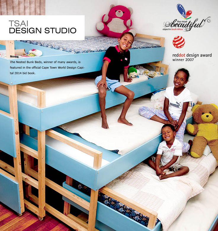 Nested bunk beds. This is a pretty awesome idea for a room where the kids will play and sleep. Freed up floor space during the day and space for the beds at night...