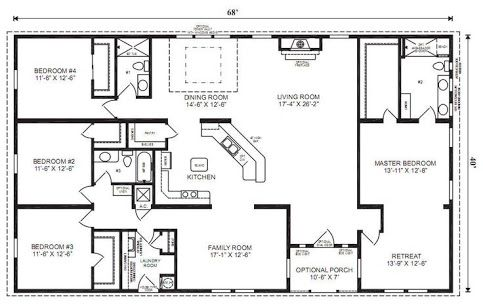 house plan 4 bedrooms wide - Google Search