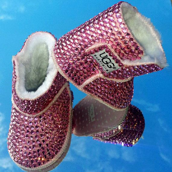 Bedazzled Bling Baby Shoes Pink boots by SavvyBabyShoes on Etsy