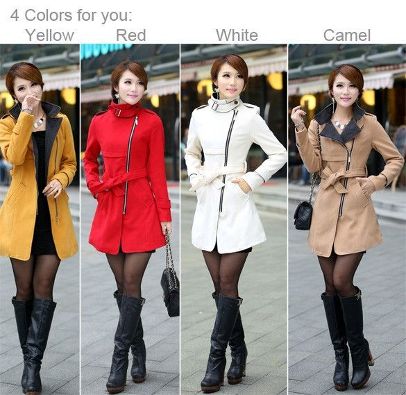New Women Woolen Warm Winter Long Coat Jacket Trench Slim Fit With Belt