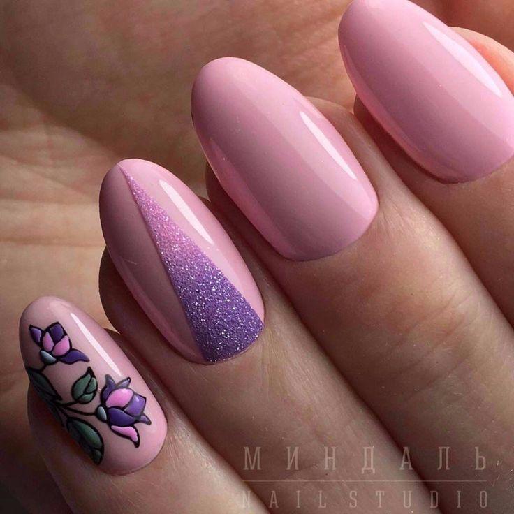 beauty manicure with flok, маникюр ногти с флоком и цветами, бледно розовые ногти, гель-лак