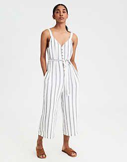028c6fd1c5dc AE Striped Button-Front Culotte Jumpsuit