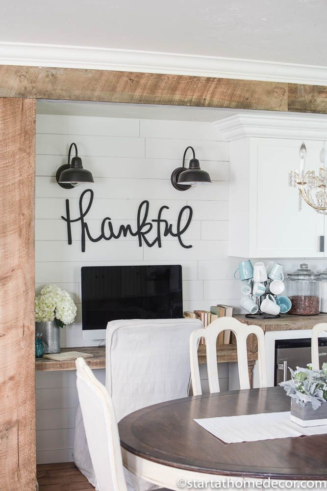 We have done a lot of remodeling to our home but our farmhouse pantry is my favorite project by far at this point! Fixer Upper style pantry | Shiplap | Thankful Cutout | Farmhouse Decor | Reclaimed Wood | Wood Beams | Vintage Decor