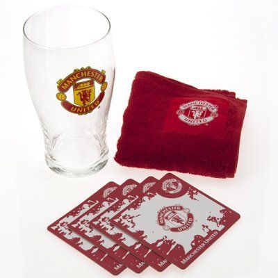 Manchester United Mini Bar Pack by Home Win. $13.81. The Manchester United Mini Bar Pack contains a pint glass with the Manchester United club crest on the front, 4 Beer mats which have the crest on both sides, the mats measure 94mm x 94mm. The set also contains a bar towel, with the Manchester United crest, Perfect for a night in watching the big game. This Manchester United Mini Bar Pack also makes a great gift for any fan. The Mini Bar Pack is an official product and is ...