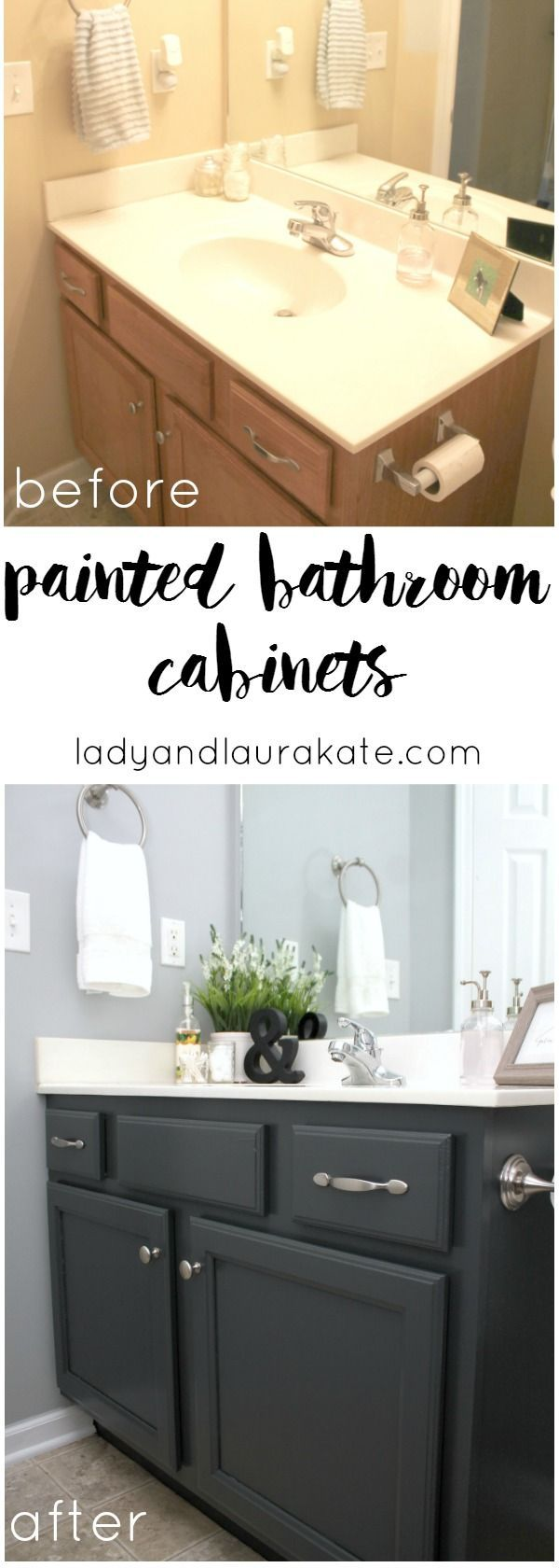 DIY painted bathroom cabinets! It's super simple to achieve in this how to with homemade chalk paint!