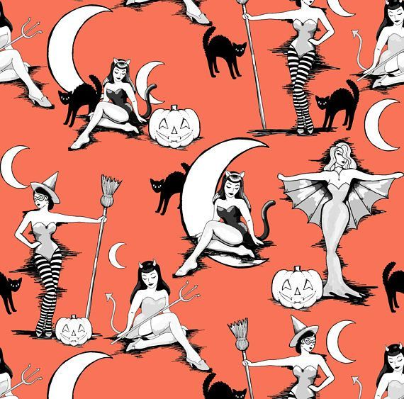 Pinup Witches Fabric – Vintage Halloween Pinups In Pumpkin Orange By Beesocks – Halloween Retro Cotton Fabric By The Yard With Spoonflower