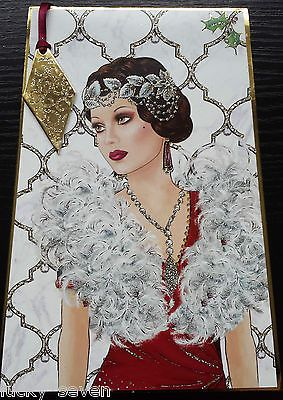 11 Clintons Art Deco Lady Embellished Christmas Cards 9