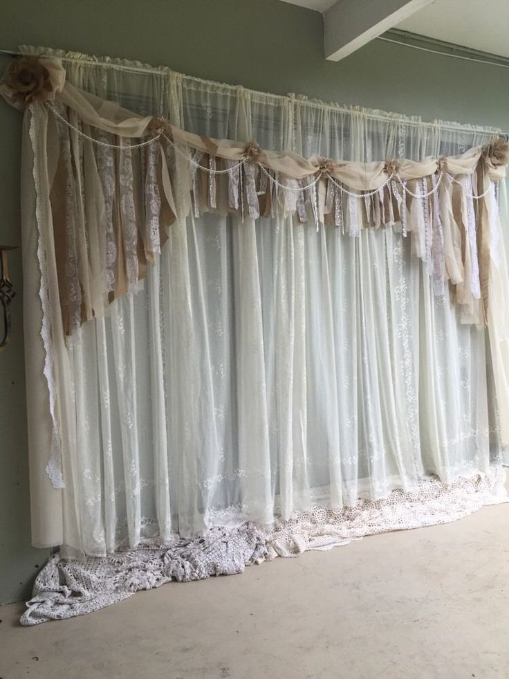 """Ivory  Backdrop Shabby Chic Fabric Burlap ,lace Garland Wedding 84""""x 115"""""""