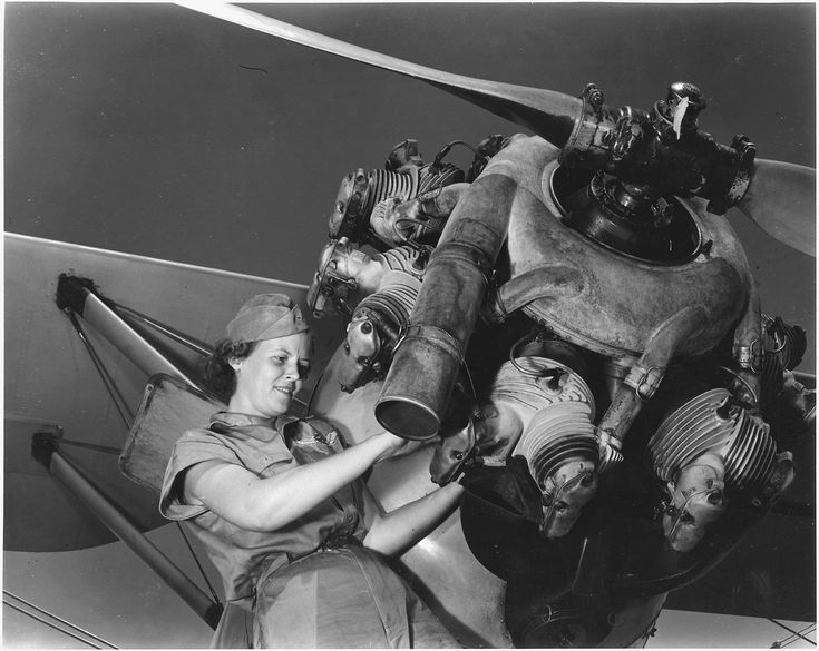 | A top-notch mechanic, Mary Josephine Farley expertly rebuilds airplane engines. | https://flic.kr/p/9saiNY Original Caption: A top-notch mechanic, Mary Josephine Farley expertly rebuilds airplane engines. Although she is only twenty years old she has a private pilot's license and has made several cross-country flights., 08/1942  From:Series: Franklin D. Roosevelt Library Public Domain Photographs, compiled 1882 - 1962  Created By:Roosevelt, Franklin D. (Franklin Delano), 1882-1945…