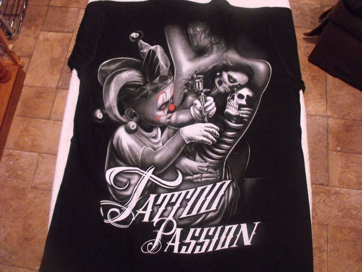Medium Black TATTOO PASSION tattoo, young joker, chica, low rider t-shirt.  #Unbranded #GraphicTee