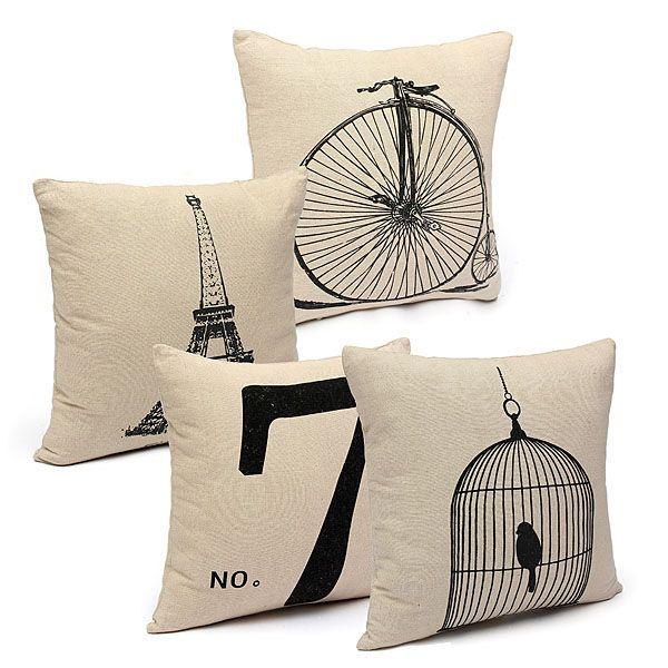 Fashion Cotton Linen Beige Pillow Case Home Decors 4 Pattern