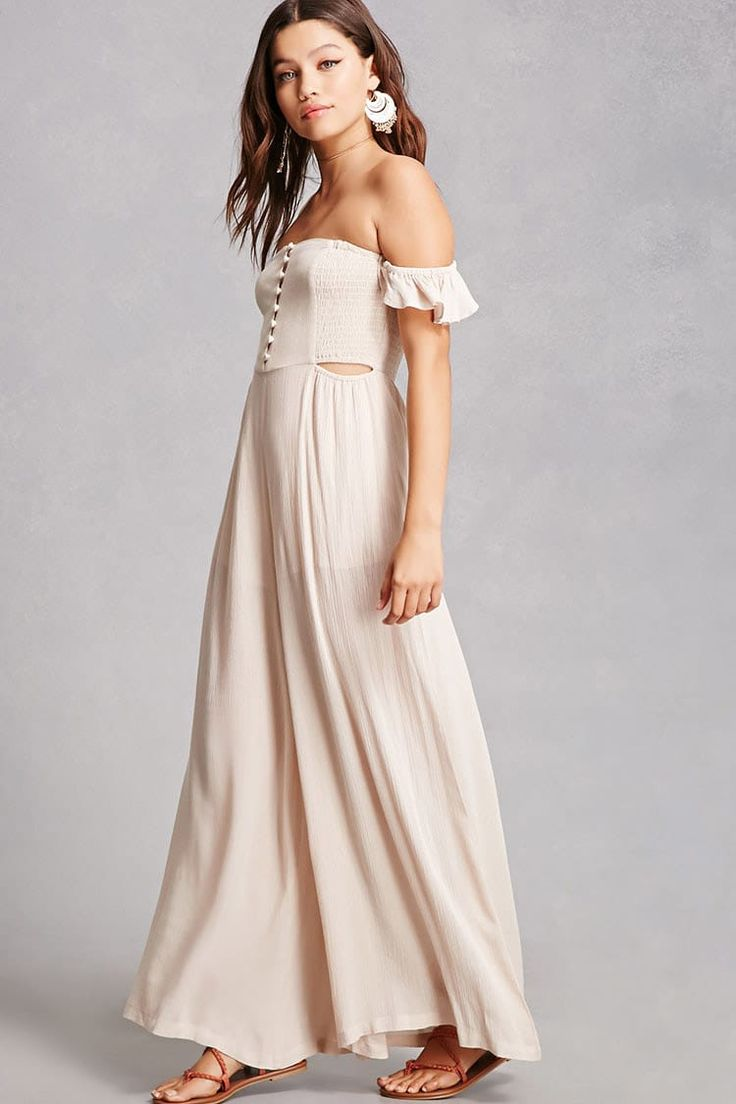 A crinkled woven jumpsuit featuring a partial elasticized neckline, short flounce sleeves, a partially smocked bodice, button front placket, side cutouts, on-seam pockets, and semi-sheer palazzo pants.<p>- This is an independent brand and not a Forever 21 branded item.</p>