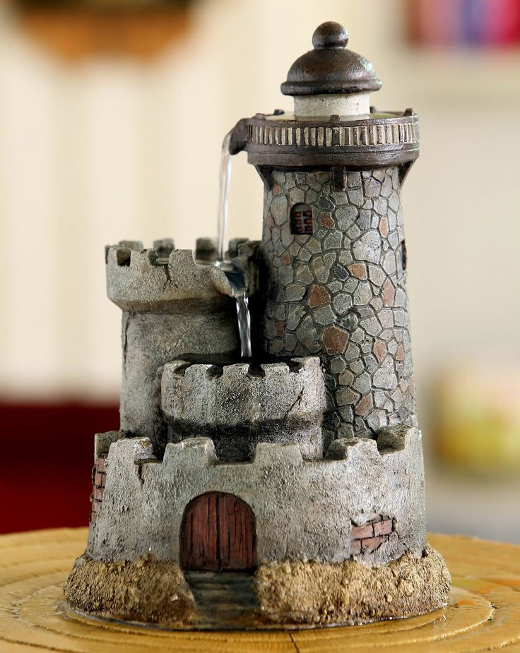 Polyresin and Fiberglass Lighthouse Tabletop Water Fountain