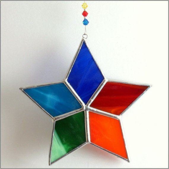Stained glass Twinkling Star   Christmas Ornament Suncatcher - FREE POSTAGE via Etsy