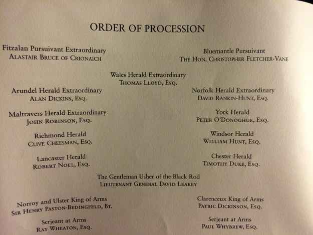 The official order of procession contains the most astonishing list of names and terms you'll ever see. | 18 Reasons Why The Queen's Speech Is A Really Weird Ceremony