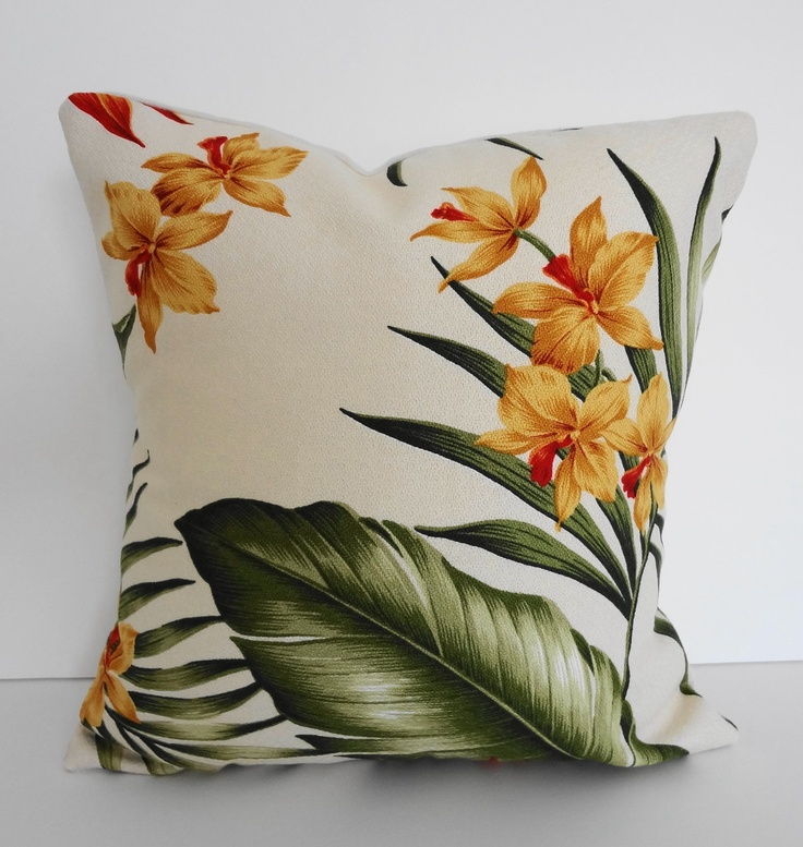 Tropical Throw Pillow Cover, Yellow Flowers Hawaiian Print, 12x12 Throw pillow covers ...