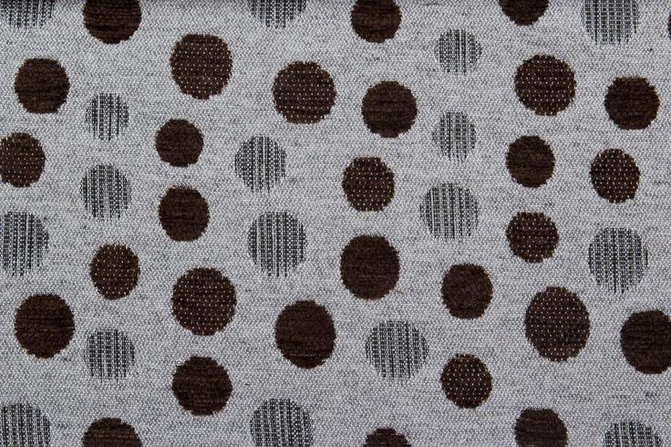 Tela INDRA con estampados de lunares de color chocolate para tapicería