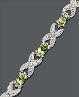 Victoria Townsend Sterling Silver Bracelet, Peridot (3-5/8 ct. t.w.) and Diamond Accent Bracelet - Bracelets - Jewelry & Watches - Macy's