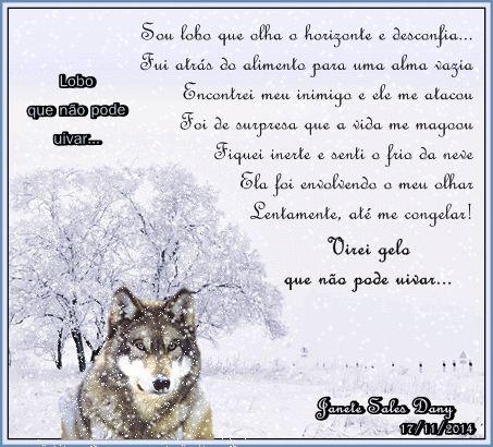 A solidão, gela, o coração...  Dany: Lobo que não pode uivar...