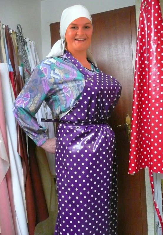 A lovely collection of shiny PVC aprons Aprons