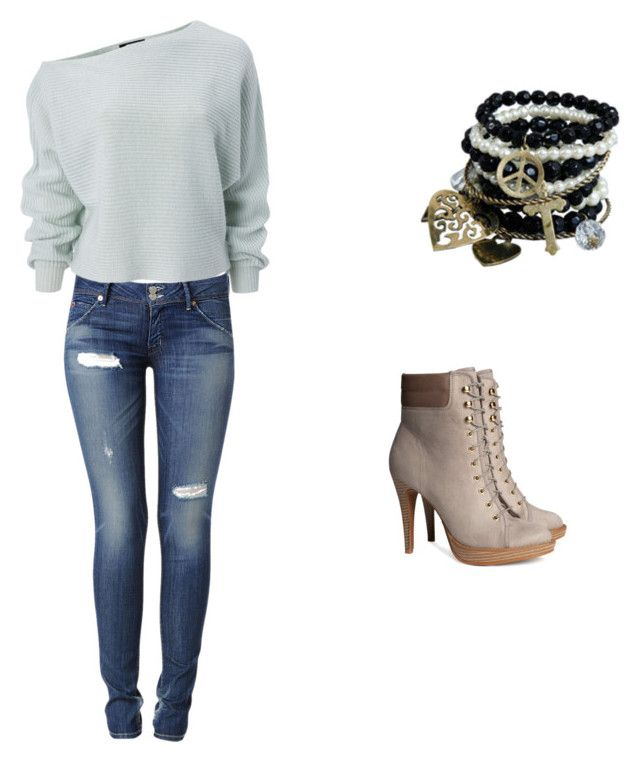 """Chris Addison"" by taryngeorge ❤ liked on Polyvore featuring H&M, Hudson Jeans and Pimkie"