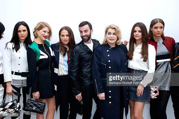 Jennifer Connelly Lea Seydoux Alicia Vikander Stylist Nicolas Ghesquiere Catherine Deneuve Selena Gomez and Adele Exarchopoulos pose backstage after...