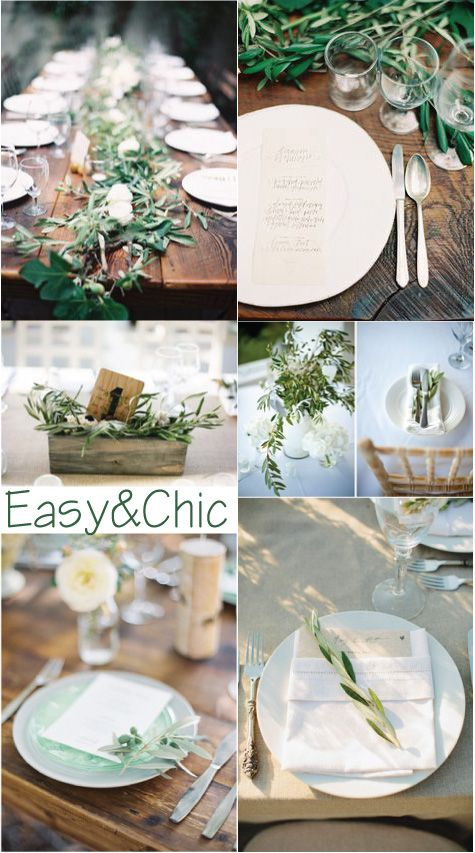 Table decoration ideas with olive branches, for spring o Easter lunch
