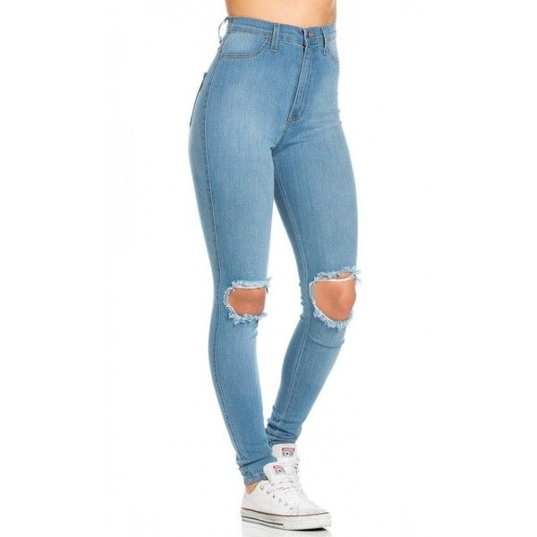 Ripped Knee Super High Waisted Skinny Jeans in Light Blue ($40) ❤ liked on Polyvore featuring jeans, stretch skinny jeans, distressed skinny jeans, high-waisted jeans, high waisted skinny jeans and high rise skinny jeans