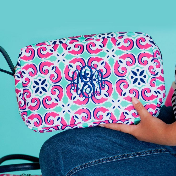 Monogrammed Mia Tile Cosmetic Bag - The Pink Lily